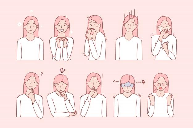 Emoções de meninas ou conjunto de expressões faciais