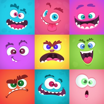 Emoções de monstros. máscaras de rostos assustadores com boca e olhos de alienígenas monstros emoticon conjunto