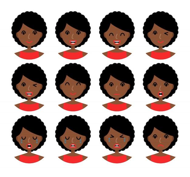 Emoções de mulher. linda garota afro-americana com cabelo castanho.