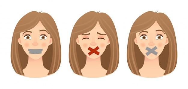 Emoções do conjunto de rosto da mulher