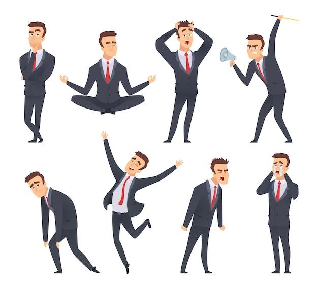 Emoções do empresário. bravo tipo doce sorridente feliz satisfeito rostos diferentes e poses de gerentes de escritório vector caracteres