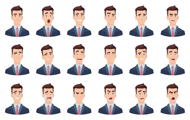 Emoções do homem. personagens faciais diferentes faces tristeza odeio sorriso cabeça retrato personagens