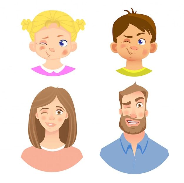 Emoções do rosto humano - conjunto