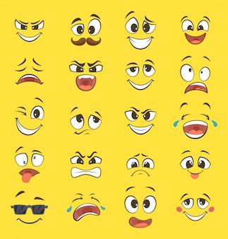 Emoções dos desenhos animados com caretas com olhos grandes e riso. emoticons de vetor em fundo amarelo