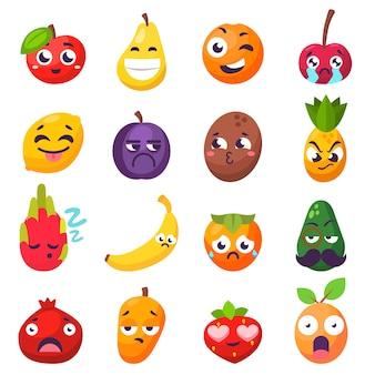 Emoções frutas personagens isolados vector