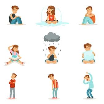 Emoções negativas das crianças, expressão de diferentes humores