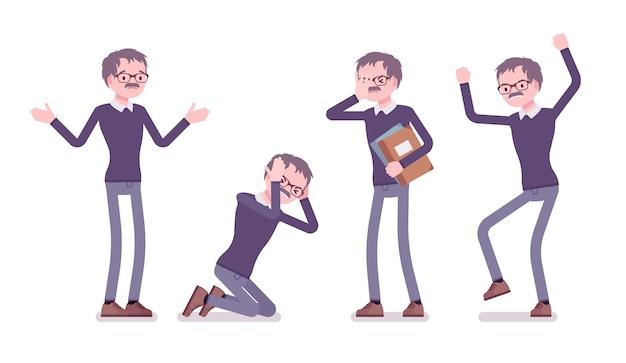 Emoções negativas do professor homem