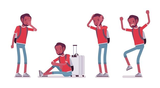 Emoções negativas do turista masculino preto