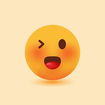 Emoji 3d realista fofo sorridente com olhos piscando ilustração vetorial de desenho animado