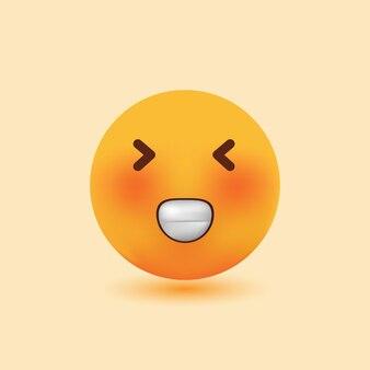Emoji 3d realista sorridente com olhos piscando ilustração de desenho vetorial