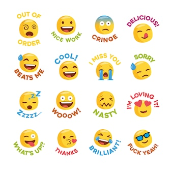 Emoji adesivo conjunto com mensagens para rede social