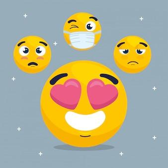 Emoji adorável com conjunto de emojis, conjunto de rostos amarelo