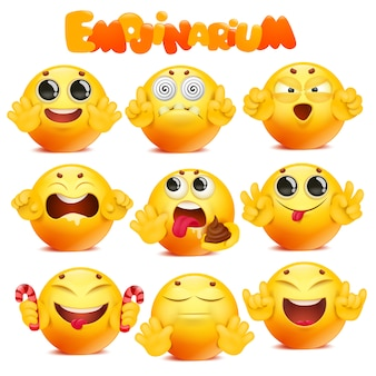 Emoji amarelo dos desenhos animados rodada grande coleção de personagens de rosto