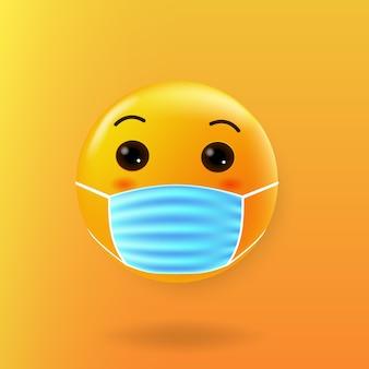 Emoji bonito com máscara de boca novo normal
