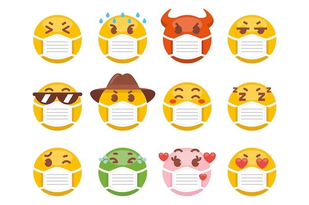 Emoji com pacote de máscara facial