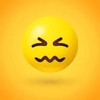 Emoji confuso com olhos amassados e boca amassada