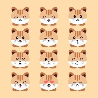 Emoji conjunto de gato com rostos expressivos
