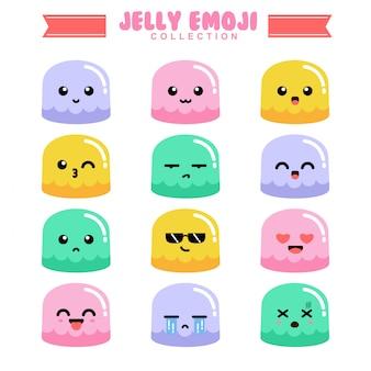 Emoji conjunto de gelatina com rostos expressivos