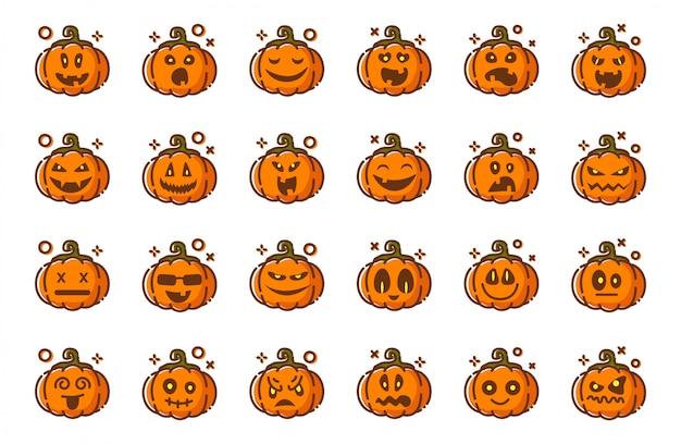 Emoji de abóboras para halloween, isolado, ícones em brancos, engraçados personagens assustadores