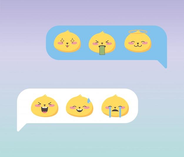 Emoji de bate-papo de mídia social representa o aplicativo de desenho animado facial