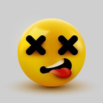 Emoji de cara morta. cross eyes emoticon 3d rendering.