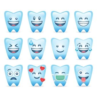 Emoji de dente definido personagem de dente engraçado