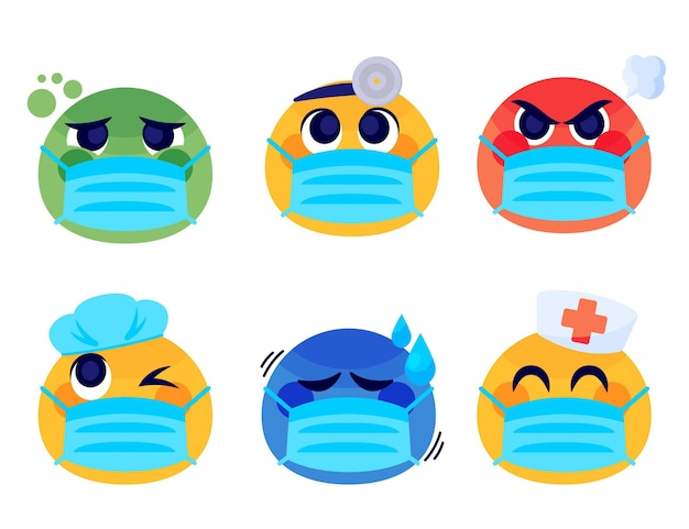 Emoji de desenho animado com pacote de máscara facial
