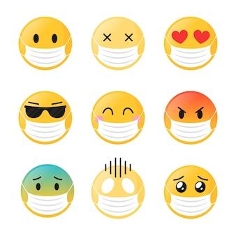 Emoji de design plano com pacote de máscara facial