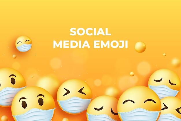 Emoji de gradiente com fundo de máscara facial