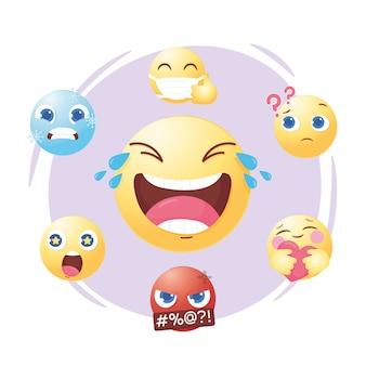 Emoji de mídia social define um humor diferente e ilustração de expressão de emoção