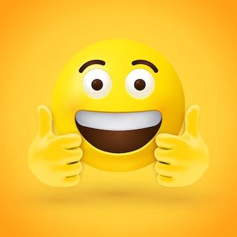 Emoji de polegar para cima com olhos grandes e boca aberta