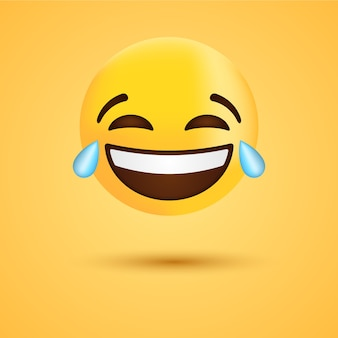 Emoji de risada feliz com lágrimas ou cara de emoticon engraçada para rede social