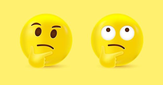 Emoji de rosto pensativo 3d