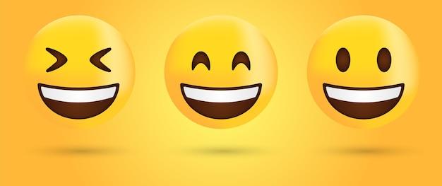 Emoji de rosto sorridente ou emoticon de risada feliz