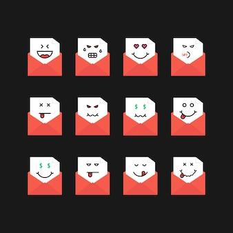 Emoji definir mensagens em letras vermelhas. conceito de triste, satisfazer, novo sms, chat, ódio, foodie, entediado, yum-yum, postagem, raiva, morto. estilo plano tendência logotipo moderno design gráfico em fundo preto