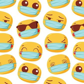 Emoji desenhado à mão com padrão de máscara facial