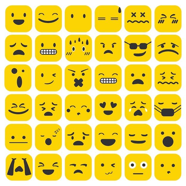 Emoji emoticons definir coleção de sentimentos de expressão de rosto