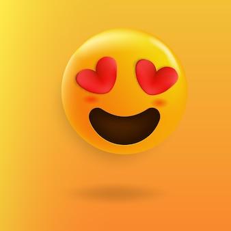 Emoji fofo, olhos amorosos, coração