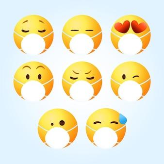 Emoji gradiente com coleção de máscara facial