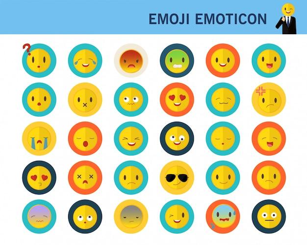 Emoji ícones plana de conceito de emoção.