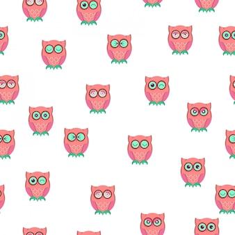 Emoji padrão sem emenda de coruja bonito.