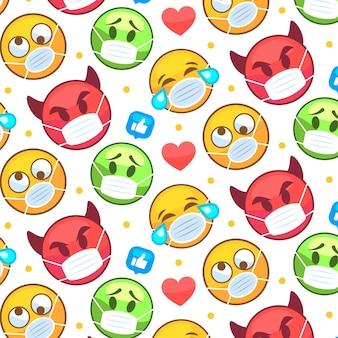 Emoji plano com padrão de máscara facial