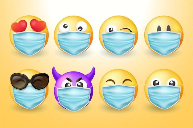 Emoji realista com máscaras