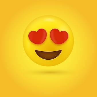 Emoji sorridente com ilustração de olhos de coração