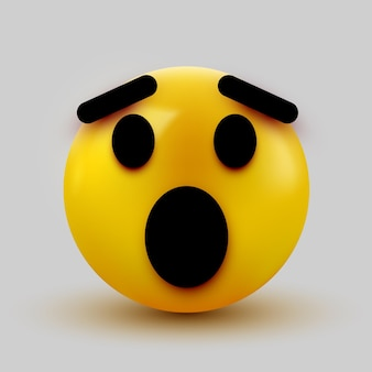 Emoji surpreso isolado no branco