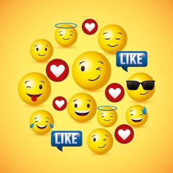 Emojis amarelo rosto redondo fundo