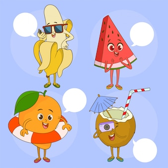 Emojis da banana, da melancia, da manga e do coco felizes no verão