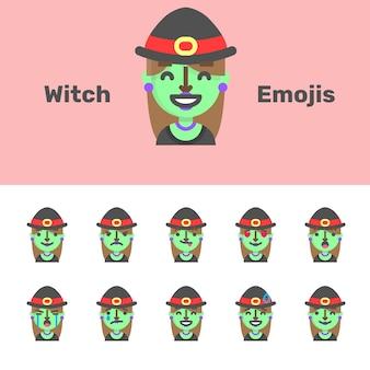 Emojis de bruxa de halloween