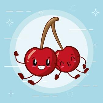 Emojis de cerejas kawaii feliz