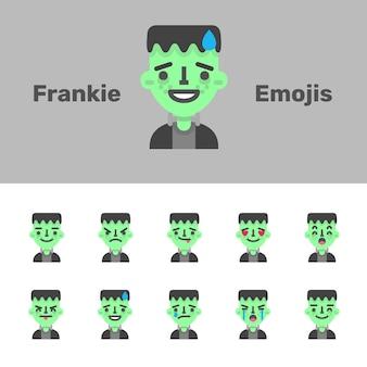 Emojis de frankestein do dia das bruxas